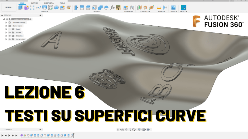 Testi in Fusion 360 su superfici curve